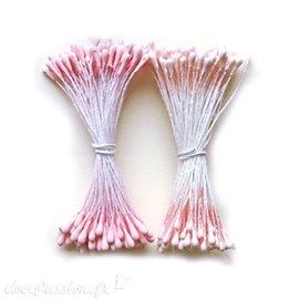Pistils Etamines pour coeurs de fleurs rose nacré & mat 2mm