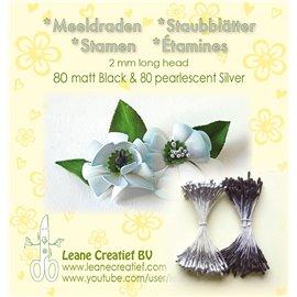 Pistils Etamines pour coeurs de fleurs argent & noir mat 2mm