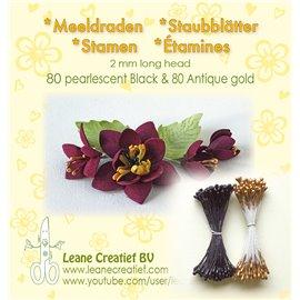 Pistils Etamines pour coeurs de fleurs doré & noir mat 2mm