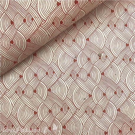 Papier népalais lokta lamaLi chanel rouge fond naturel
