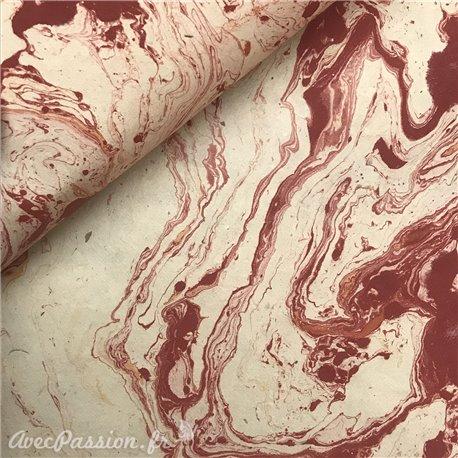 Papier népalais lokta naturel marbré rouge
