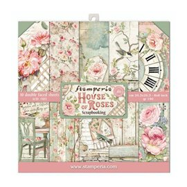 Papier scrapbooking assortiment Stamperia 10f recto verso 20x20 House of Roses