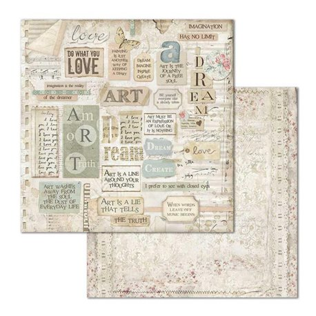Papier scrapbooking réversible Stamperia doube face 30x30 Dream writtings