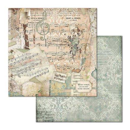 Papier scrapbooking réversible Stamperia doube face 30x30 Music