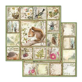 Papier scrapbooking réversible Stamperia doube face 30x30 Framed Squirrel