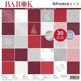 Papier scrapbooking assortiment barok rouge foil argent 2x20fe 30x30