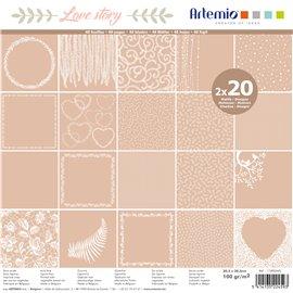 Papier scrapbooking assortiment love story kraft 2x20fe 30x30