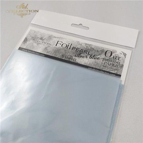 Foil Transfert nacré pour scrapbooking bleu tendre x5