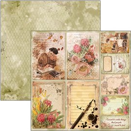 Papier scrapbooking réversible Ciao Bella the muse cards 30x30