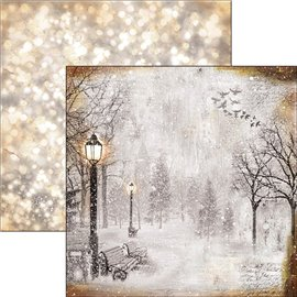 Papier scrapbooking réversible Ciao Bella the first fall of snow 30x30