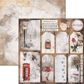 Papier scrapbooking réversible Ciao Bella have a happy snowy day 30x30