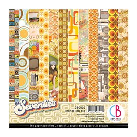 Papier scrapbooking 15x15 assortiment seventies 24f