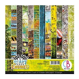 Papier scrapbooking 15x15 assortiment Ciao Bella start your engines 24f