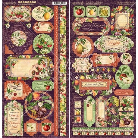 Papier scrapbooking assortiment Graphic 45 fruit and flora recto verso 30x30 16fe