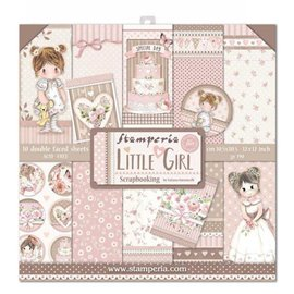 Papier scrapbooking assortiment Stamperia little girl fille 10f recto verso 30x30