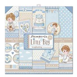 Papier scrapbooking Little Boy garçon assortiment Stamperia 10f recto verso 30x30