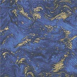 Papier tassotti à motifs marbré bleu et doré