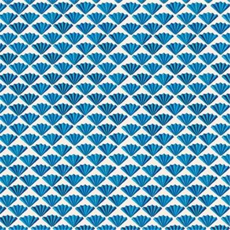 Papier tassotti à motifs éventail bleu