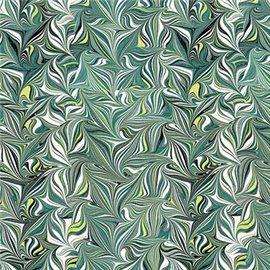 Papier tassotti motifs marbré peigne vert