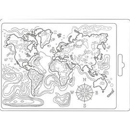 Moule souple soft mould Stamperia fin pour modelage carte du monde