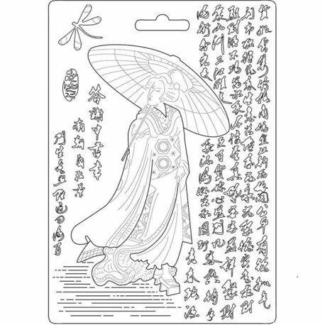 Moule souple soft mould Stamperia fin pour modelage geisha
