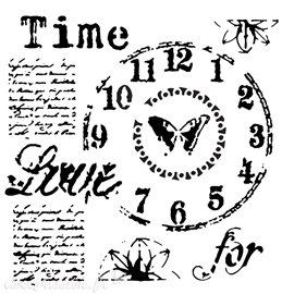 Pochoir plastique horloge time for love 30x30cm