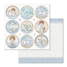 Papier scrapbooking réversible Stamperia doube face 30x30 étiquettes little boy