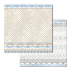 Papier scrapbooking réversible Stamperia doube face 30x30 texture pois little boy