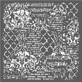 Pochoir décoratif fin Stamperia musique et écritures 30x30cm
