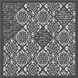Pochoir décoratif fin Stamperia papiers peints mosaïques et écritures 30x30cm