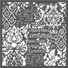 Pochoir décoratif épais Stamperia papiers peints fantaisie 30x30cm