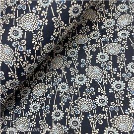 Papier japonais chiyogami fleurs fond bleu nuit