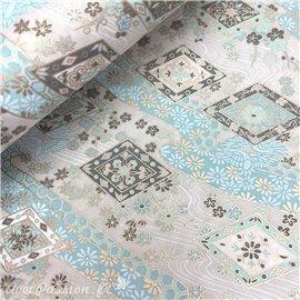 Papier japonais chiyogami rivière bleu ciel fond gris clair