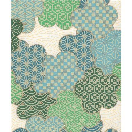 Papier japonais chiyogami sakura bleu vert fond crème