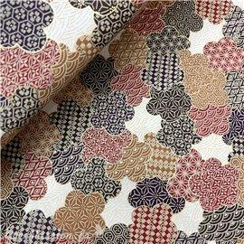 Papier japonais chiyogami sakura rouge camel marron fond crème