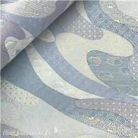 Papier japonais chiyogami rivière parme et bleu clair