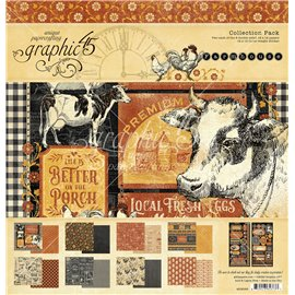 Papier scrapbooking assortiment Graphic 45 farmhouse Deluxe collection 30x30