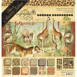 Papier scrapbooking assortiment Graphic 45 safari adventure Deluxe collection 30x30