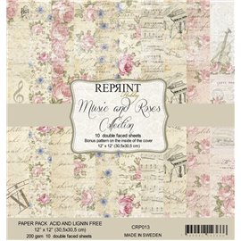 Papier scrapbooking assortiment Reprint Hobby music and roses recto verso 30x30 10fe