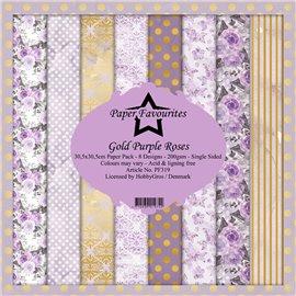 Papier scrapbooking assortiment Dixi Craft Paper Favourites gold purple roses 30x30 8fe
