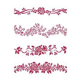 Pochoir décoratif fin Stamperia 3 frises 21x30cm