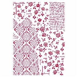 Pochoir décoratif fin Stamperia roses et mosaïques 21x30cm