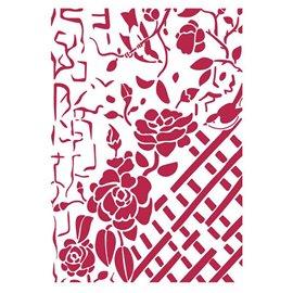 Pochoir décoratif fin Stamperia clôtures avec roses 21x30cm