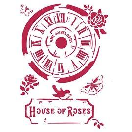 Pochoir décoratif fin Stamperia horloge maison des roses 21x30cm