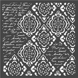 Pochoir décoratif Stamperia rhombus et écritures 18x18cm