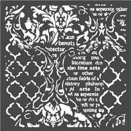 Pochoir décoratif Stamperia fond et écritures 18x18cm