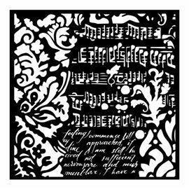 Pochoir décoratif Stamperia musique et écritures 18x18cm
