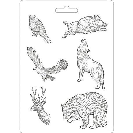 Moule décoratif thermoformé Stamperia animaux forêt stampo