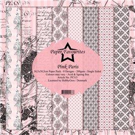 Papier scrapbooking assortiment Dixi Craft Paper Favourites pink paris 30x30 8fe