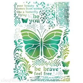 Pochoir décoratif fin Stamperia papillon 21x30cm